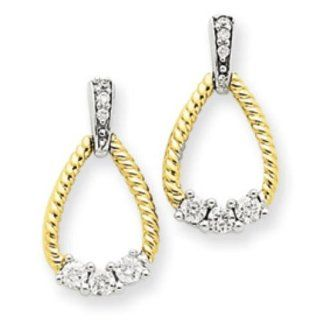 14k Two tone Gold Diamond Teardrop Post Earrings Jewelry