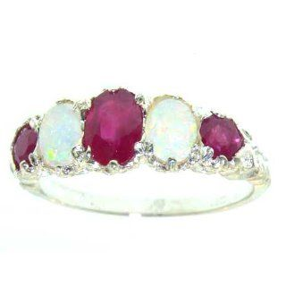 14K White Gold Luxury Vibrant Ruby & Opal Eternity Band Ring   Finger Sizes 5 to 12 Available   Perfect Gift for Birthday, Christmas, Valentines Day, Mothers Day, Mom, Grandmother, Daughter, Graduation, Bridesmaid. Wedding Bands Jewelry