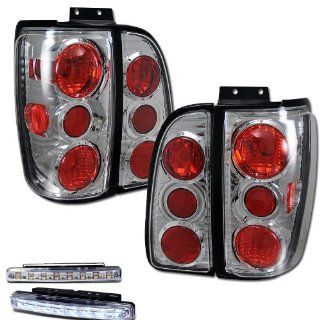 1998 2002 LINCOLN NAVIGATOR TAIL LIGHTS CHROME REAR BRAKE LAMPS + DRL LED BUMPER Automotive