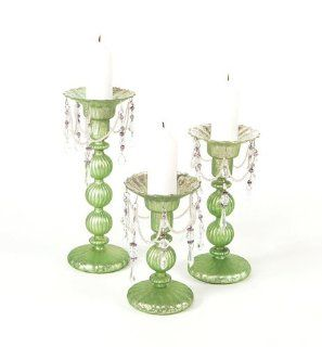 Pack of 6 Green Antique Style Easter Glass Pillar Candle Holders 10""