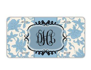 Personalized monogrammed license plate   Light blue damask floral   initials monogram car tag vanity, front license plate