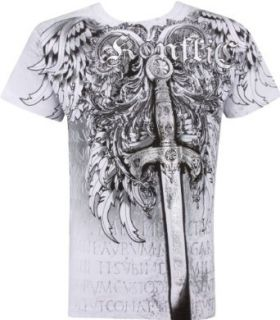 Sword Metallic Silver Embossed Short Sleeve Crew Neck Cotton Mens Fashion T Shirt at  Men�s Clothing store