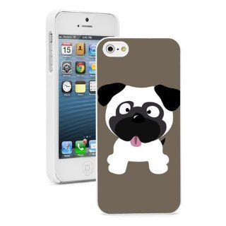 Apple iPhone 4 4S 4G White 4W476 Hard Back Case Cover Color Cute Pug Cartoon Cell Phones & Accessories