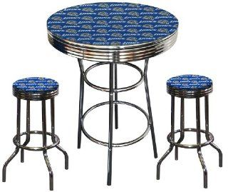 Detroit Lions NFL Football Glass Top Chrome Bar Pub Table Set With 2 Swivel Bar Stools
