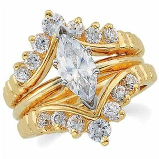 14K Yellow Gold Stylish Diamond Ring Guard Enhancer (Center ring is not included) Jewelry Days Jewelry