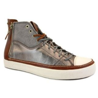 Diesel D Zippy Mens Laced & Zip Leather & Suede Trainers Silver Brown   44 Fashin Sneakers Shoes