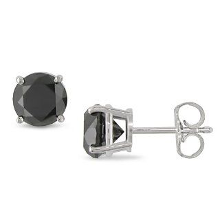 14k White Gold Black Diamond Solitaire Earrings (2 Cttw) Jewelry