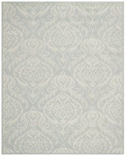 Safavieh BEL445A Bella Collection Handmade Wool and Viscose Area Rug, 9 by 12 Feet, Silver and Ivory