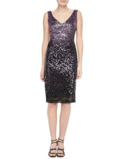 Sequined Sleeveless Sheath Cocktail Dress   David Meister