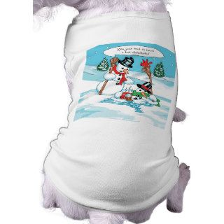 Funny Snowman with Hot Chocolate Cartoon Pet Clothes