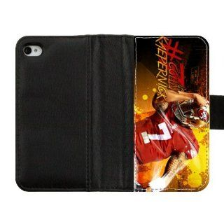Customize NFL San Francisco 49ers Colin Kaepernick Diary Leather Cover Case for IPhone 4,4S High fabric cloth, hard plastic case and leather cover Cell Phones & Accessories