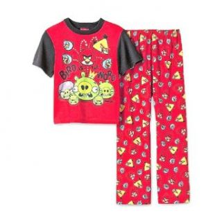 "Angry Birds (Boy's 4 12) red 2 piece ""Bird is the Word"" short sleeve pajama set   10 Clothing"