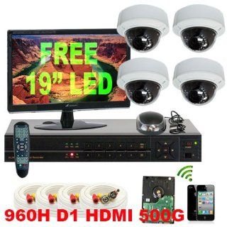 GW High End CCTV Surveillance Security Camera System, FREE LED Monitor, 4 Channel 500GB HDD 960H Real Time Recording 4CH D1 recording/Playback, 4 Sony CCD Cameras 600 TVL 4~9mmVari Focal, iPhone Android Viewable  Complete Surveillance Systems  Camera &am