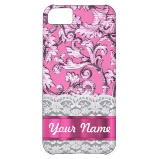 Pink floral lace pattern iPhone 5C cases