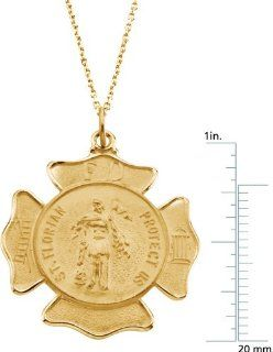 14 karat yellow gold St. Florian Medal Pendant Diamond Designs Jewelry