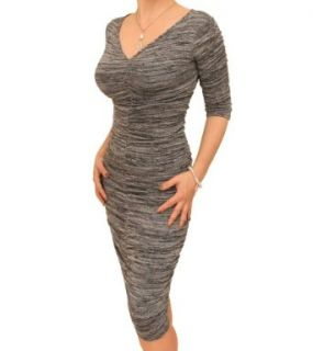Blue Banana   Gray Marl Ruched V Neck Sweater Dress