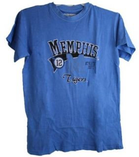 Memphis Tigers Men's Tee Shirt Distressed Logo Blue Novelty T Shirts Clothing