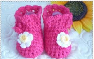 Crochet Baby Toddler Shoes Baby Girl Crochet Knit Flower Sandals Infant Red Color 1pair Shoes