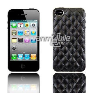VMG For Apple iPhone 4/4S Ultra Thin Design Case Cover   Black Diamond Quilt Faux Leather Design [by VanMobileGear] Cell Phones & Accessories