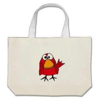 XX  Funny Sad Cardinal Bird Cartoon Canvas Bag
