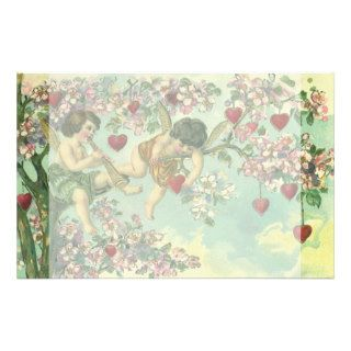 Vintage Valentines Day Victorian Cupids Heart Tree Custom Stationery