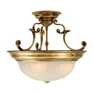 Dolan Designs 524 18 2 Light Down Light Semi Flush Ceiling Fixture from the Richland Collection, Old Brass   Close To Ceiling Light Fixtures