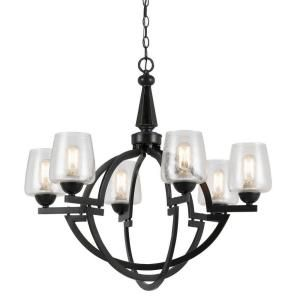 CAL Lighting 6 Light Oil Rubbed Bronze Hand Forged Iron Beverly Chandelier with Glass Shades FX 3552/6