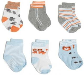 Rising Star Baby boys Newborn Bear Socks, Orange/Light Blue, 3 12 Months Clothing