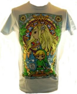 Legend of Zelda Mens T Shirt   Toon Link in the Stained Glass Window on Baby Blue (X Small) Novelty T Shirts Clothing