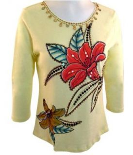 "Usindo Clothing 3/4 Sleeve, ""Floral Art"" Beaded & Sequined with Gemstones, Pre Washed, Floral Themed, Scoop Neck Cotton Top   Pale Yellow (Medium)"