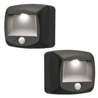 Mr. Beams MB522 Battery Operated Indoor/Outdoor Motion Sensing LED Step/Stair Light, Brown, 2 Pack   Solar Powered Motion Sensor Step Lights