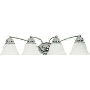 Glomar Empire 4 Light Polished Chrome Vanity with Alabaster Glass Bell Shades HD 339