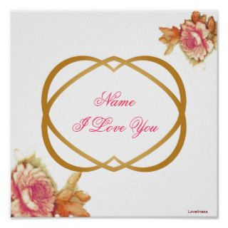 I Love You Hot Pink Roses Brass Hearts Poster