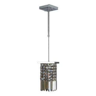 Worldwide Lighting Torrent Collection 1 Light Chrome with Golden Teak Crystal Pendant W83532C6 GT