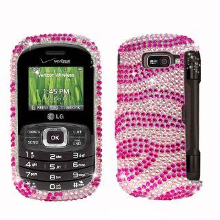 Fits LG VN530 Octane Hard Plastic Snap on Cover Hot Pink and White Zebra Full Diamond Verizon Cell Phones & Accessories