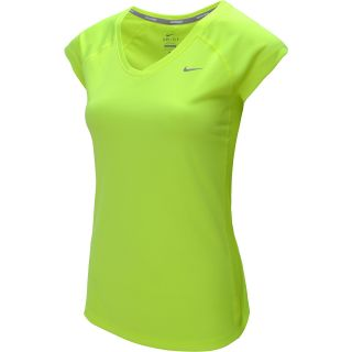 NIKE Womens Miler V Neck Cap Sleeve Running T Shirt   Size Medium, Volt/silver