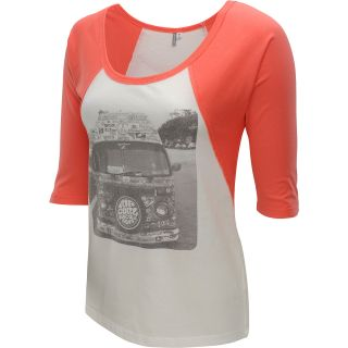 RIP CURL Womens Street Team Elbow Sleeve Baseball T Shirt   Size Xl, Coral