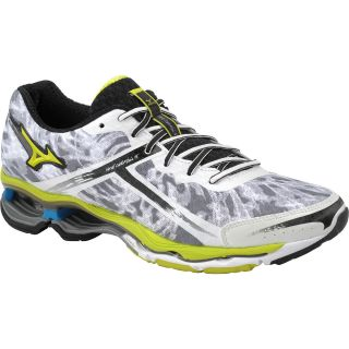 MIZUNO Mens Wave Creation 15 Running Shoes   Size 11, White/lime