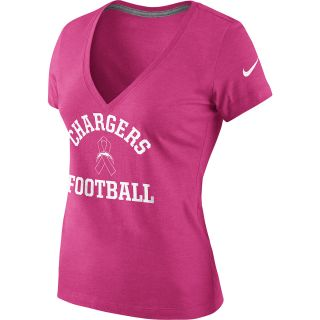 NIKE Womens San Diego Chargers Breast Cancer Awareness V Neck T Shirt   Size