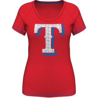 MAJESTIC ATHLETIC Womens Texas Rangers Bold Statement Fashion Top   Size Xl,