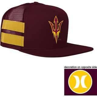 HURLEY Mens Arizona State Sun Devils Block Party Adjustable Cap, Maroon/gold