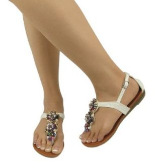 Women's Beaded T Strap Flat Thong Sandals White , 6.5 Shoes