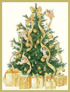 Entertaining with Caspari Tree with Angels Christmas Cards with Unlined Envelopes, Box of 16   Greeting Cards