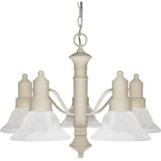 Glomar Gotham 5 Light Textured White Chandelier with Alabaster Glass Bell Shades HD 195