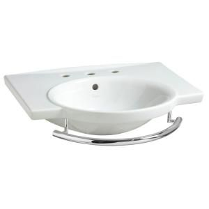 Porcher Sapho II 6 1/2 in. Pedestal Sink Basin with Single Faucet Hole Drilling and Integral Towel Bar in Biscuit DISCONTINUED 20000 01.071
