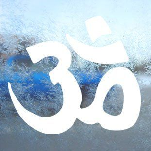 OM SYMBOL HINDU White Decal Car Laptop Window Vinyl White Sticker   Themed Classroom Displays And Decoration