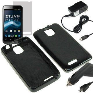 Eagle TPU Sleeve Gel Cover Skin Case for Cricket ZTE Engage LT N8000 + LCD + Car + Home Charger  Black Cell Phones & Accessories