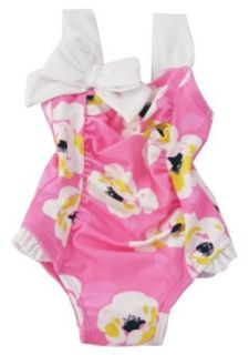 Janie and Jack Baby Girls Bow Floral Swimsuit (3 6mo) Infant And Toddler Swimwear Sunsuits Clothing