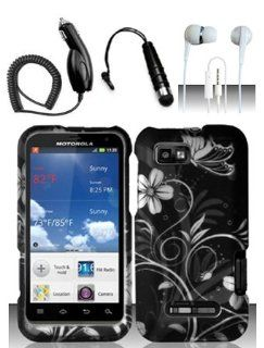 4 Items Combo For Motorola Defy XT XT556 / XT557 (StraightTalk/US Cellular) Black White Frowers Design Hard Case Snap On Protector Cover + Car Charger + Free Mini Stylus Pen + Free 3.5mm Stereo Earphone Headsets Cell Phones & Accessories
