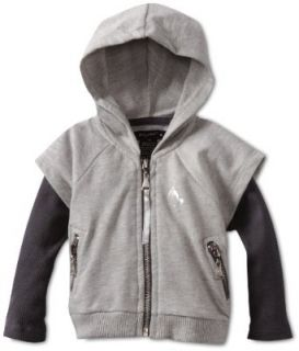 Baby Phat   Kids Baby Girls Infant French Terry Twofer Hoodie, Gray, 12 Clothing